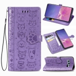 For Galaxy S10E Cute Cat and Dog Embossed Horizontal Flip Leather Case with Bracket / Card Slot / Wallet / Lanyard(Purple)
