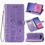 For Galaxy S10 Plus Cute Cat and Dog Embossed Horizontal Flip Leather Case with Bracket / Card Slot / Wallet / Lanyard(Purple)