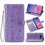 For Galaxy S10 Cute Cat and Dog Embossed Horizontal Flip Leather Case with Bracket / Card Slot / Wallet / Lanyard(Purple)