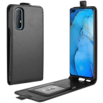 For OPPO Reno 3 Pro R64 Texture Single Vertical Flip Leather Protective Case with Card Slots & Photo Frame(Black)