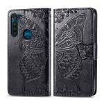 For Moto G8 Power Butterfly Love Flower Embossed Horizontal Flip Leather Case with Bracket / Card Slot / Wallet / Lanyard(Black)
