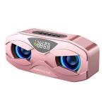 M5 Cool Owl Design Bluetooth Speaker LED Flash Wireless Loudspeaker FM Radio Alarm Clock TF Card(Rose Gold)