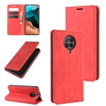For Xiaomi Redmi K30 Pro Retro-skin Business Magnetic Suction Leather Case with Holder & Card Slots & Wallet(Red)
