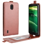 For Nokia C1 R64 Texture Single Vertical Flip Leather Protective Case with Card Slots & Photo Frame(Brown)