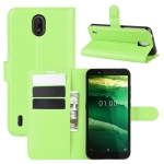 For Nokia C1 Litchi Texture Horizontal Flip Protective Case with Holder & Card Slots & Wallet(Green)