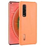 For Oppo Find X2 Pro Shockproof Crocodile Texture PC + PU Case(Orange)