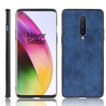For OnePlus 8 Shockproof Sewing Cow Pattern Skin PC + PU + TPU Case(Blue)