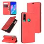 For Huawei P40 lite E Retro-skin Business Magnetic Suction Leather Case with Holder & Card Slots & Wallet(Red)