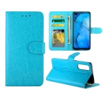 For OPPO Reno3 Pro Crazy Horse Texture Leather Horizontal Flip Protective Case with Holder & Card Slots & Wallet & Photo Frame(baby Blue)