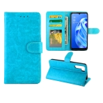 For OPPO A91/ F15(2020) Crazy Horse Texture Leather Horizontal Flip Protective Case with Holder & Card Slots & Wallet & Photo Frame(baby Blue)