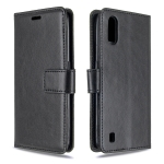 For Galaxy A01 Crazy Horse Texture Horizontal Flip Leather Case with Holder & Card Slots & Wallet & Photo Frame(black)