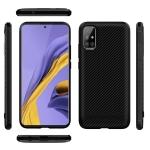 For Galaxy A51 ENKAY ENK-PC016 Carbon Fiber Texture Solid Color TPU Slim Case Soft Cover(Black)