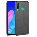 For Huawei P40 lite E/Y7p Shockproof Shockproof Crocodile Texture PC + PU Case(Black)