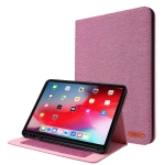 For iPad Pro 11(2020) Horizontal Flip TPU + Fabric PU Leather Protective Case with Name Card Clip(Rose Red)