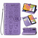 For Galaxy A01 Cute Cat and Dog Embossed Horizontal Flip Leather Case with Bracket / Card Slot / Wallet / Lanyard(Purple)