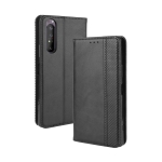 For  Sony Xperia 1 II Magnetic Buckle Retro Crazy Horse Texture Horizontal Flip Leather Case  , with Holder & Card Slots & Photo Frame(Black)