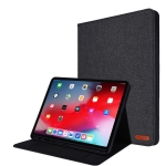 For iPad Pro 12.9(2020) Horizontal Flip TPU + Fabric PU Leather Protective Case with Name Card Clip(Black)