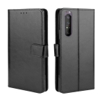 For Sony Xperia 1 II Retro Crazy Horse Texture Horizontal Flip Leather Case , with Holder & Card Slots & Photo Frame(Black)