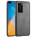 For Huawei P40 Shockproof Crocodile Texture PC + PU Case(Black)