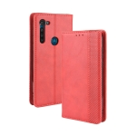 For Motorola Moto G8 Power Magnetic Buckle Retro Crazy Horse Texture Horizontal Flip Leather Case  , with Holder & Card Slots & Photo Frame(Red)