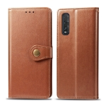 For OPPO Find X2 Retro Solid Color Leather Buckle Phone Case with Lanyard & Photo Frame & Card Slot & Wallet & Stand Function(Brown)