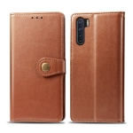 For OPPO F15/A91 Retro Solid Color Leather Buckle Phone Case with Lanyard & Photo Frame & Card Slot & Wallet & Stand Function(Brown)