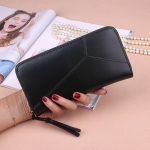 Women Purse Wild Long Stitching Card Holder Zip Concealed Two Folding Clutch Bag(Black)