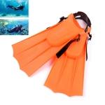 1 Pair Adult Adjustable Fins Swimming Fins Snorkeling Sole, Size:30-35(Orange)