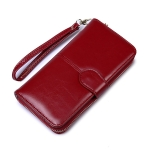Ladies Oil Wax Leather Retro Long Large Capacity Multifunctional Wallet Clutch Bag(Wine Red)