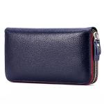 Ladies Top-grain Leather Wallet Long Wallet Bag Zipper Clutch Bag(Royal Blue)