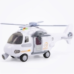 Drop-resistant Large Aircraft Inertial Sound and Light Music Story Early Education Puzzle Helicopter Toy Model(White)