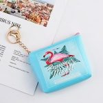 Mini Zip Wallet Cute Coin Purse with Keychain(A Flamingo)