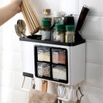 Wall-mounted Household Punch-free Chopsticks Storage Multi-function Kitchen Seasoning Box(White + Black)