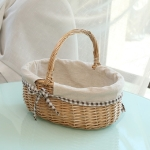 Hand-woven Picnic Basket Sackcloth Rattan Storage Basket, Specification:Small(Primary Color Sackcloth)