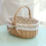 Hand-woven Picnic Basket Sackcloth Rattan Storage Basket, Specification:Large(Primary Color Daisy Sackcloth)