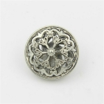 Silver 100 PCS Hollow Flower Shape Metal Button Clothing Accessories, Diameter:20mm