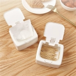 Single Grid Desktop Key-type Storage Box Household Small Objects Dustproof Storage Box with Lid(White)
