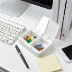 Double Grid Desktop Key-type Storage Box Household Small Objects Dustproof Storage Box with Lid(White)