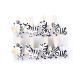 2 PCS Handmade Wooden With Hemp Rope Cartoon Zebra Little Clip