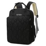 Waterproof Solid Color Rhombic Lattice Mummy Backpack Double-shoulder Bag(Black)