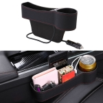 Car Multi-functional Co-pilot Seat Console PU Leather Box Cigarette Lighter Charging Pocket Cup Holder Seat Gap Side Storage Box (Black)