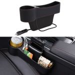 Car Multi-functional Driver Seat Console PU Leather Box Cigarette Lighter Charging Pocket Cup Holder Seat Gap Side Storage Box(Black)