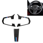 3 in 1 Car Carbon Fiber Tricolor Steering Wheel Button Decorative Sticker for BMW 5 Series G30 X3 G01, Left and Right Drive Universal