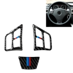 3 in 1 Car Carbon Fiber Tricolor Steering Wheel Button Decorative Sticker for BMW 3 Series E90 2005-2012, Left and Right Drive Universal