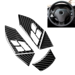 5 in 1 Car Carbon Fiber Solid Color Steering Wheel Button Decorative Sticker for BMW 5 Series E60 2004-2010, Left and Right Drive Universal