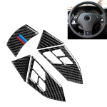 5 in 1 Car Carbon Fiber Tricolor Steering Wheel Button Decorative Sticker for BMW 5 Series E60 2004-2010, Left and Right Drive Universal