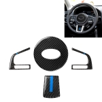 4 in 1 Car Carbon Fiber Blue Steering Wheel Button Decorative Sticker for Subaru Forester 2016-2018, Left and Right Drive Universal