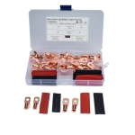 40 PCS AWG T2 Copper Heavy-duty Cold-pressed Wire Terminals 8 x 1/4 & 6 x 1/4 with Heat Shrinkable Tube