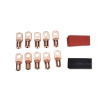 10 PCS AWG T2 Copper Heavy-duty Cold-pressed Wire Terminals 1/0 x 3/8 with Heat Shrinkable Tube