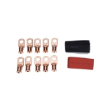 10 PCS AWG T2 Copper Heavy-duty Cold-pressed Wire Terminals 2 x 3/8 with Heat Shrinkable Tube